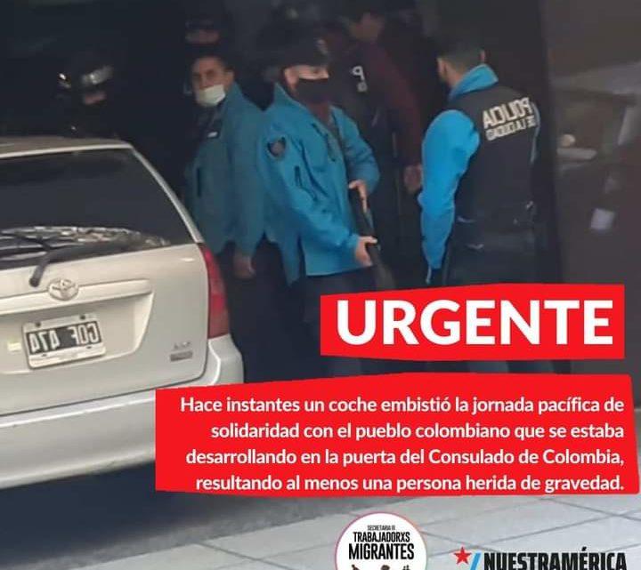 Ataque a jornada de solidaridad con el pueblo colombiano en Argentina