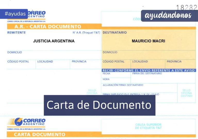 Carta documento para Macri