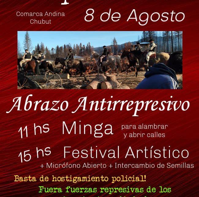 Abrazo antirrepresivo en la Comarca Andina, Chubut.